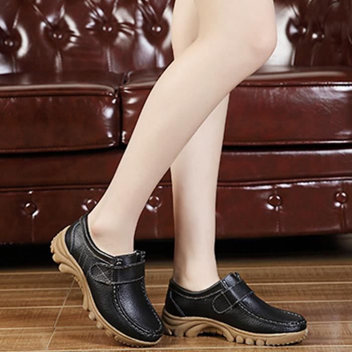 Chaussures plates simples Chaussures Bas Couleur cuir solide Pois non-Slip Chaussures femme @love12785