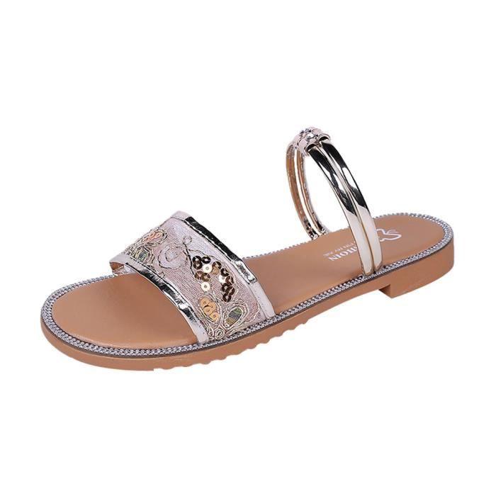 Mode féminine Air Mesh intérieur extérieur Sandales talon plat Slipper Chaussures de plage*-378