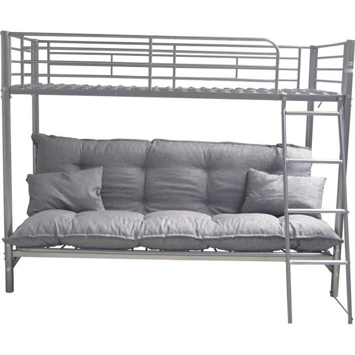 price factory lit superpos louis futon gris sommier coussin bas inclus couchage 90x200 cm. Black Bedroom Furniture Sets. Home Design Ideas