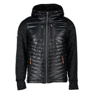 SUPERDRY Storm Hybride Fermeture Éclair Sweat à Capuche Homme Capuche Veste Homme Granit Noir chiné