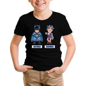 T-SHIRT T-shirt Enfant Noir Batman parodique Batman et Bar