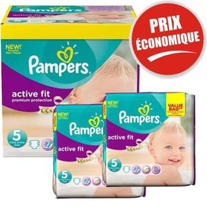 COUCHE Giga Pack 376 Couches Pampers Active Fit taille 5