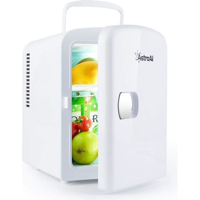 AstroAI Mini Frigo de Chambre Mini Réfrigérateur Voiture Portatif 4L 12V-220V Glacière Électrique Chaud-Froid 0-66°C Garantie 3
