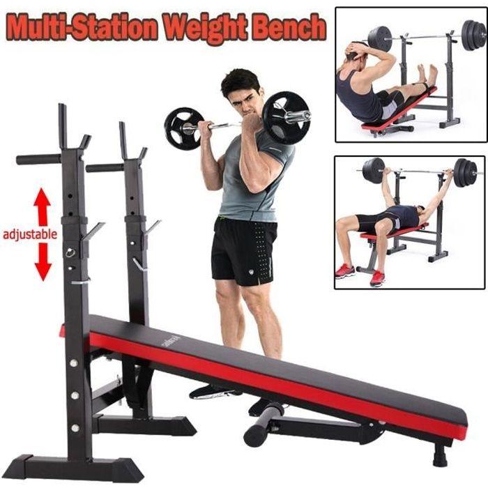NEW Banc de Musculation Multifonction Abdominaux Pliable avec Support de Barres pour Haltère et Station à Dips