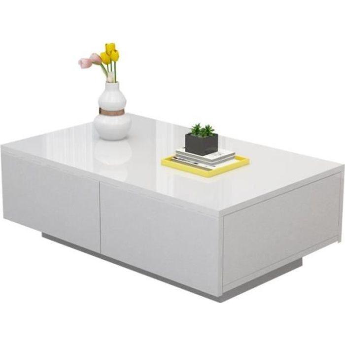 Table basse blanche à quatre tiroirs de salon en bois meuble principale de côté moderne de meubles de table basse-CWU
