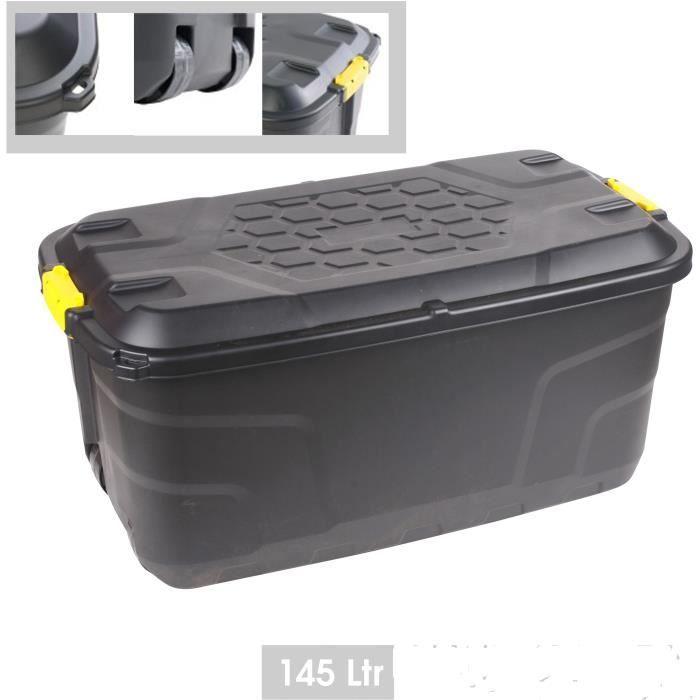 Box de Rangement Noir en Plastique Rigide Malle Extérieur 145 litres 4 Roulettes