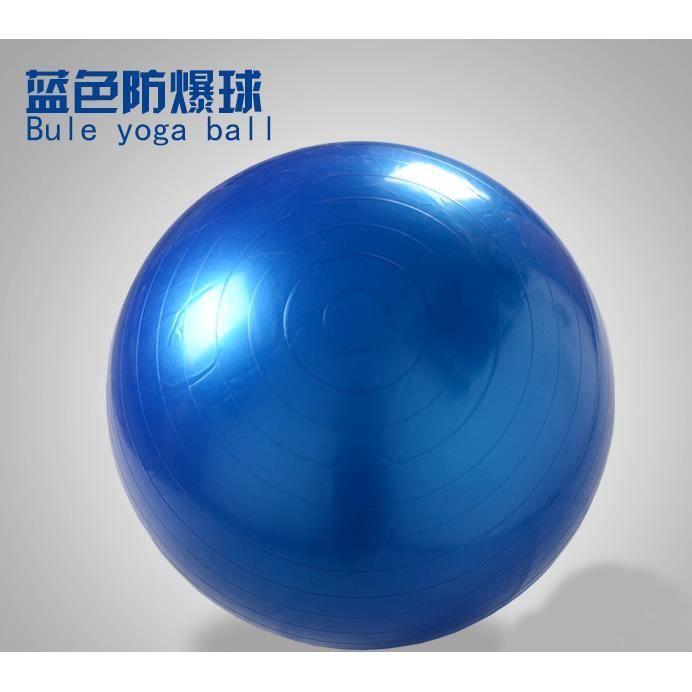 Balle de Yoga Exercice Fitness Balance Gymnastique Force Pilates Ball Révéler Gonfleur Bleu 65 cm / 25,6 -