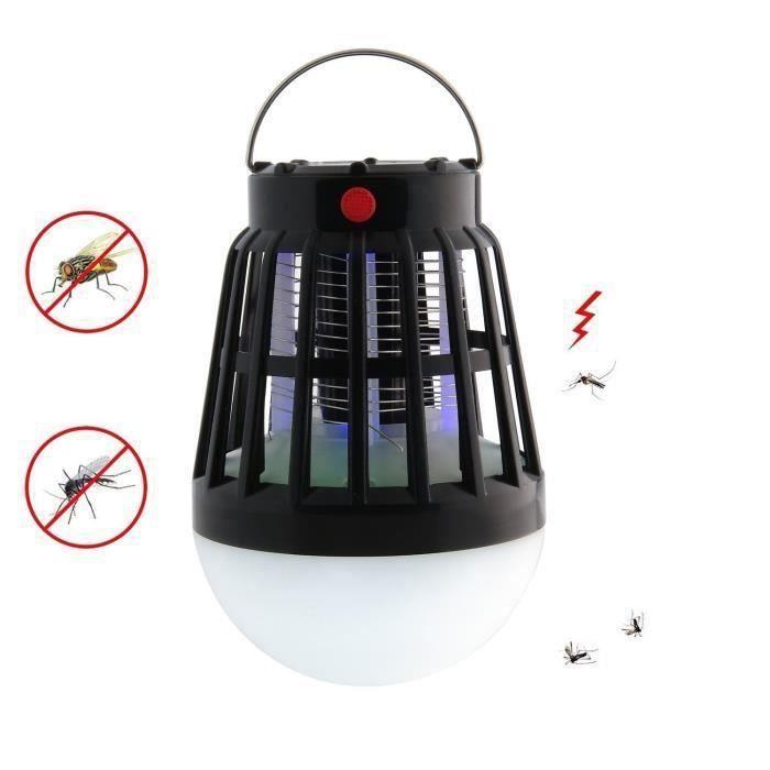 Lanterne de camping,2 en 1 solaire nuit lampe ampoule LED & anti-moustique Zapper - Imperméable à l'eau, Rechargeable via USB ou