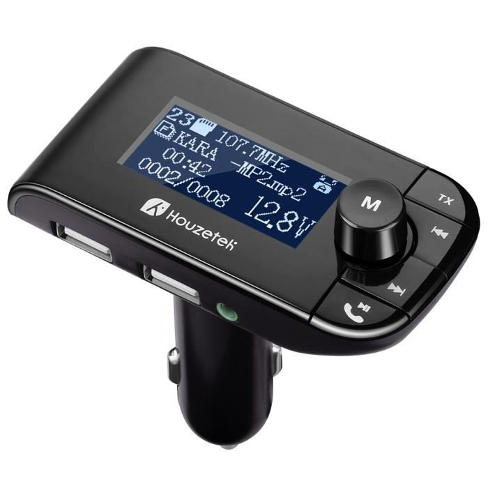 Transmetteur FM Bluetooth de Voiture - 10M Espace Libre - 4 Modes de Lecture de Musique - Double Chargement USB - Noir