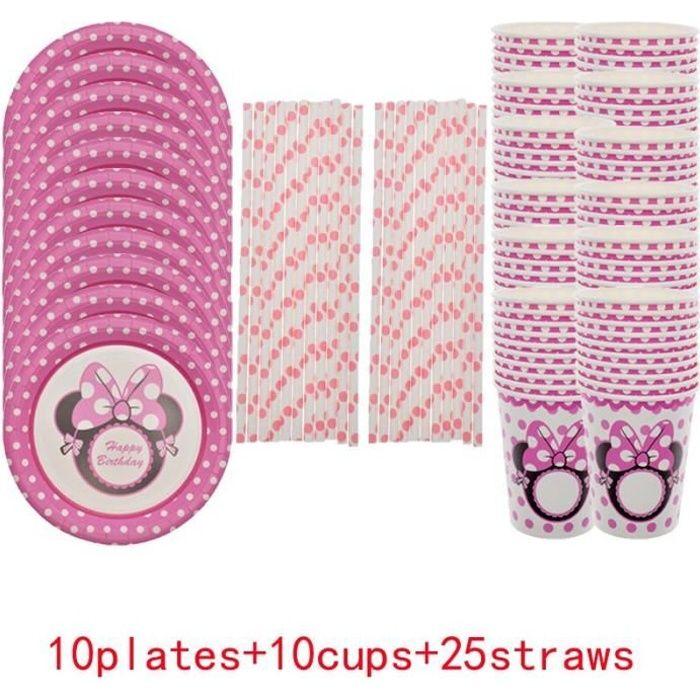 Vaisselle jetable rose MINNIE pour fille, fournitures de fête d'anniversaire, assiettes, gobelets, serviettes en pai*LL20879