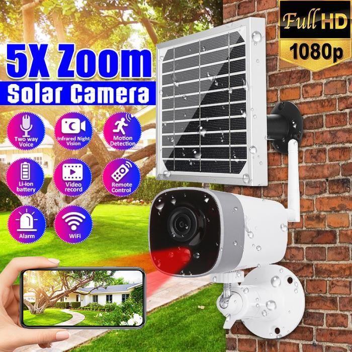 1080P Camera de surveillance 5 x zoom solaire Wifi APP mobile phone interphone vocal vision nocturne infrarouge 10M