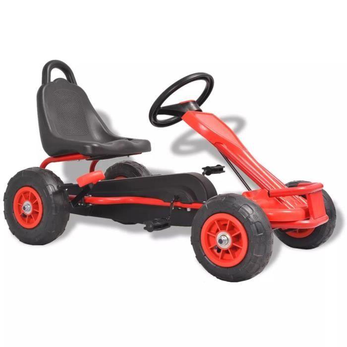 Vélo et véhicule Karting Go-Kart à pédales cadeau enfant noel - Convient pour 3 à 8 anss avec pneus Rouge
