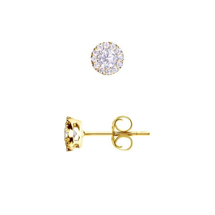 DIAMOND LANE Boucles d'Oreilles Puces Diamants Or Blanc 750° Femme