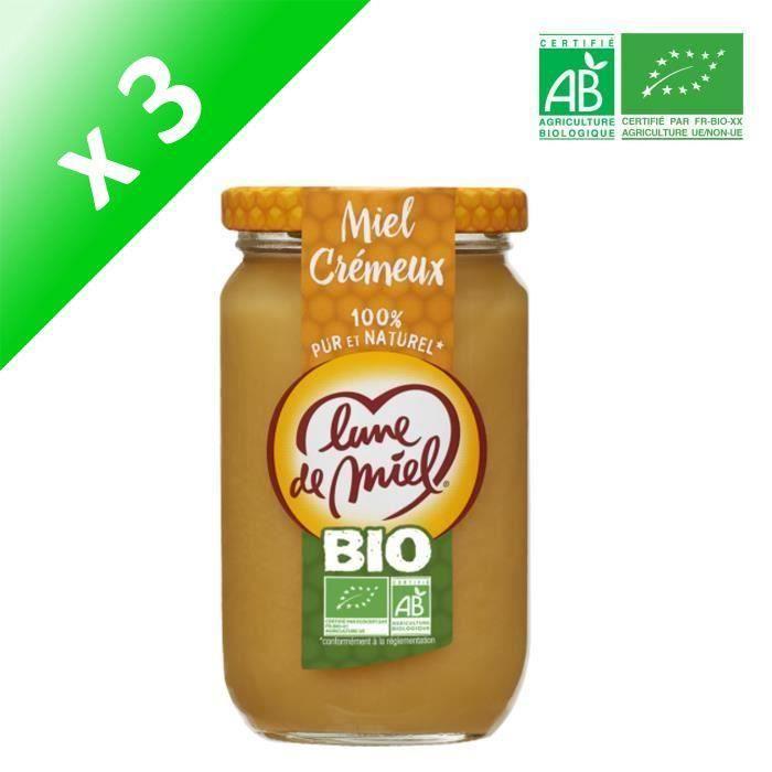 [LOT DE 3] LUNE DE MIEL Miel Crémeux - 375 g - Bio