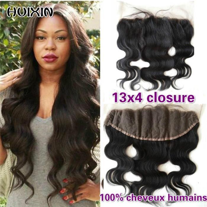 16- brésiliens Cheveux humains Body Wave 13x4 Lace Frontal Closure Avec des cheveux de bébé