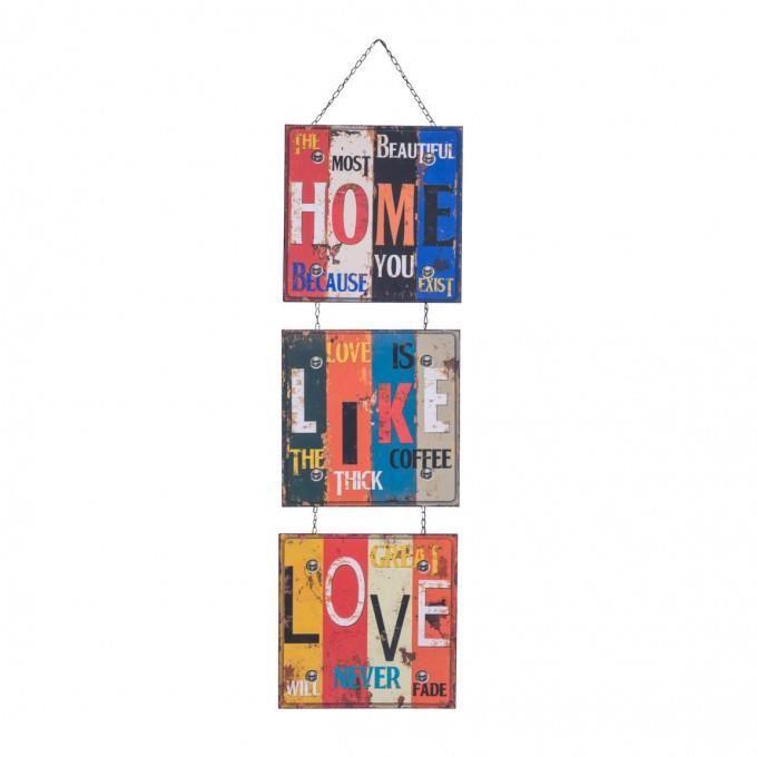 Mobili Rebecca® Plaque Decoration murale Metal 3 Panneaux Home Like Love Vintage Bar Sejour