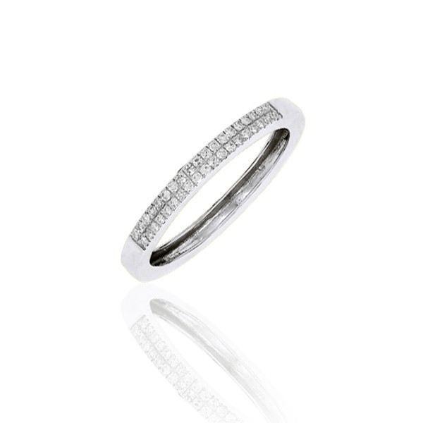 YSORA - Alliance or gris 750 ‰ et diamants demi tour, double rang en Or Blanc - POINÇON : Or Blanc - 750/1000 - PIERRE 1 : Diamant