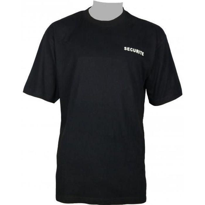 Tee shirt noir en coton pour les agents de sécurité marquage sécurité cote cœur et dos