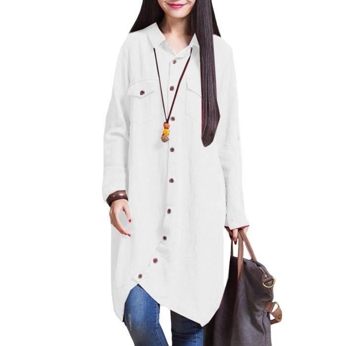 femmes coton lin longue Chemisier irrégulière ourlet Boutons en vrac Casual Top Vintage Robe chemise blanche - p 1M0HIK Taille-50