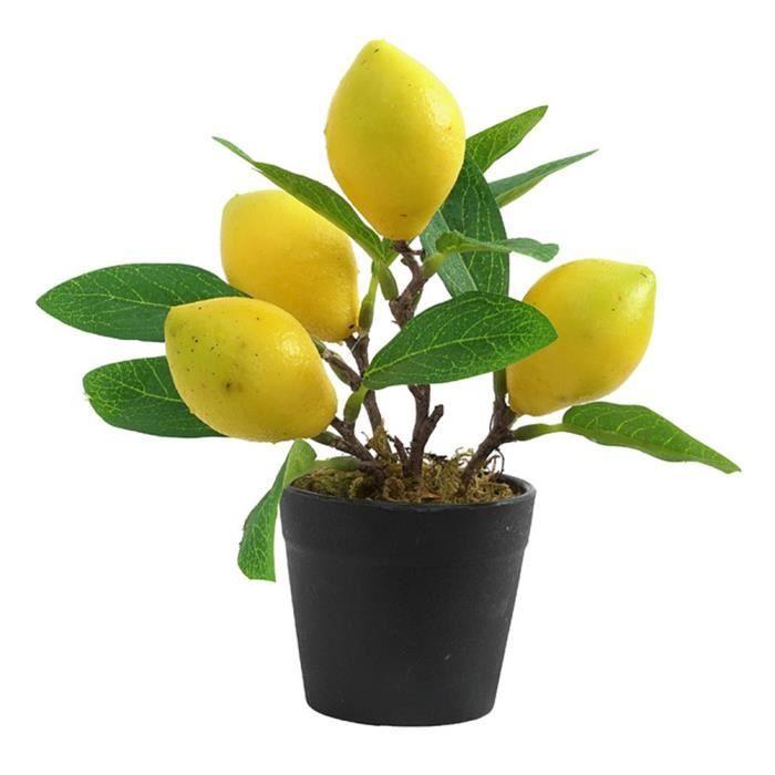 Imitation Plantes artificielles Flowerpot Citron Bonsai Mini plastique artificielle plante verte Taille S