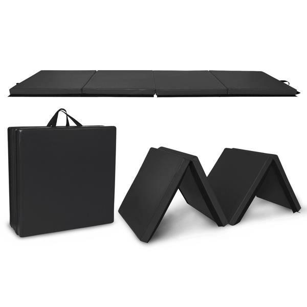 Tapis de gymnastique pliable noir 240*60*5cm - Tapis d'exercice pliant à 4 panneaux - Tapis de sol fitness
