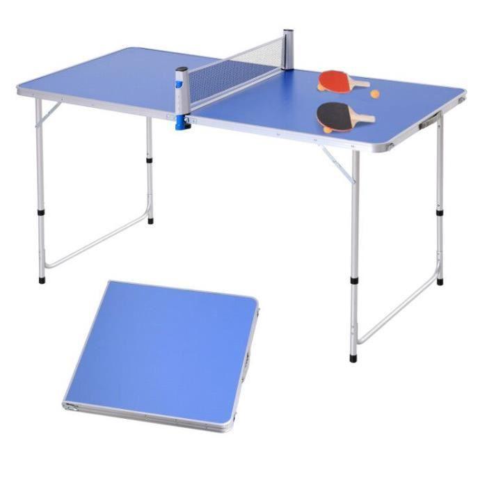 Table de ping pong camping 2 en 1 - table pliante - hauteur réglable - 2 raquettes + 3 balles fournies - alu. MDF bleu 160x80x70cm