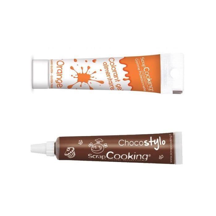 Stylo chocolat + Gel colorant alimentaire orange