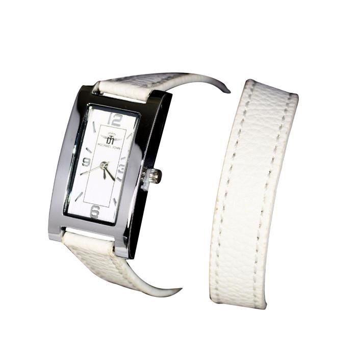 montre bracelet femme double tour cuir blanc michael john. Black Bedroom Furniture Sets. Home Design Ideas