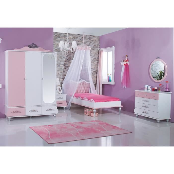 chambre princesse rose achat vente chambre compl te chambre princesse rose cdiscount. Black Bedroom Furniture Sets. Home Design Ideas
