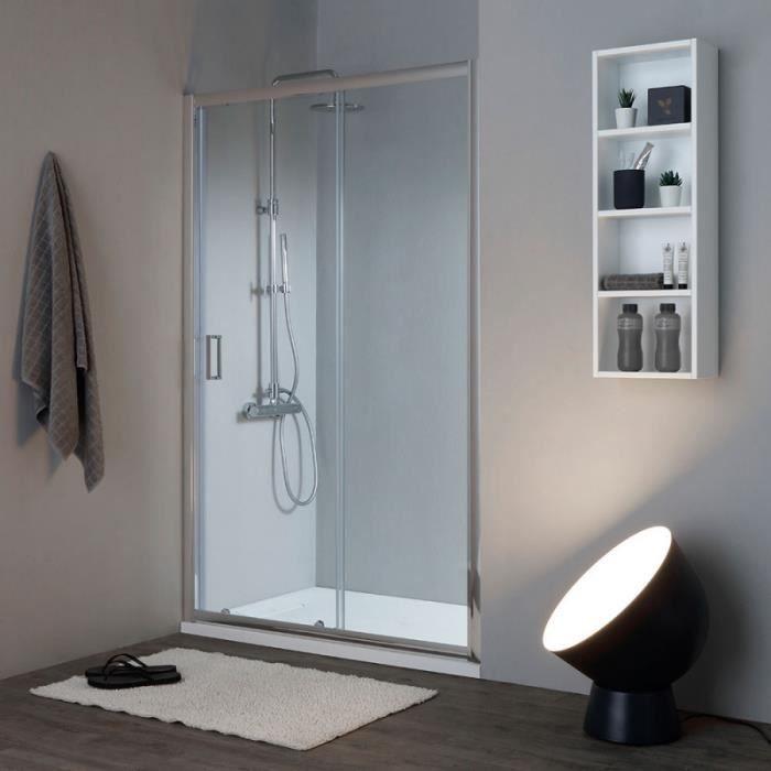 Porte de douche transparent pour niche 130cm paroi de douche avec porte coulissante Sogood Teramo4 en verre de s/écurit/é anticalcaire 130x190cm