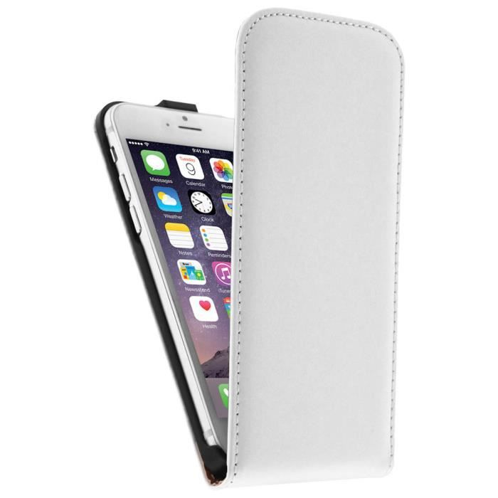Housse clapet cuir apple iphone 6 tui blanc achat for Housse cuir iphone 6