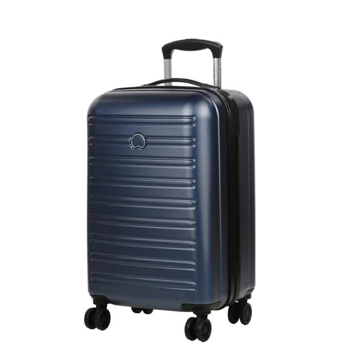delsey segur valise taille cabine 55cm polycarbonate ultra l g re 4 roues bleu bleu. Black Bedroom Furniture Sets. Home Design Ideas