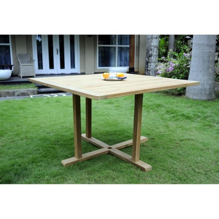 Table de jardin en teck brut 120 cm table carr e - Table carree 120 cm ...