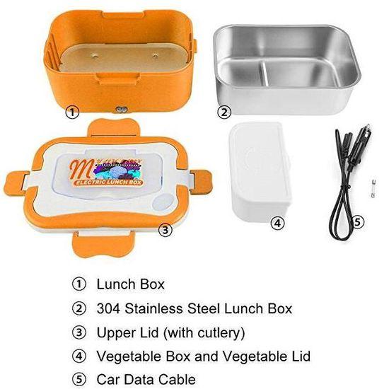 12v//220v Box /à Lunch /à Double Usage Bo/îte Chauffante Herm/étique Marbeine 2 en 1 Bo/îte /à d/éjeuner Electrique en Acier Inoxydable