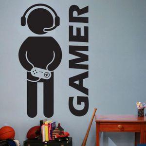 Gamer Stickers muraux Auto-adh/ésif Stickers muraux Personnalit/é D/écoration Autocollant texte Gamer Controller BESLIME Stickers Muraux avec PVC Sticker Mural