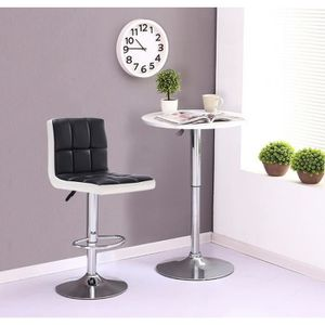 TABOURET DE BAR Lot de 2 tabourets de bar - Simili blanc et noir -