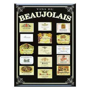 AFFICHE - POSTER Carte et Poster Métal Vins du Beaujolais 21 x 15cm