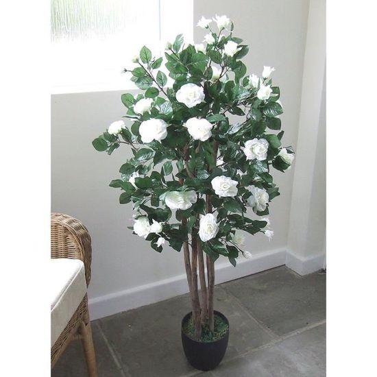 Gardenia Plante fleurie artificielle 8 fleurs H 25 cm en pot