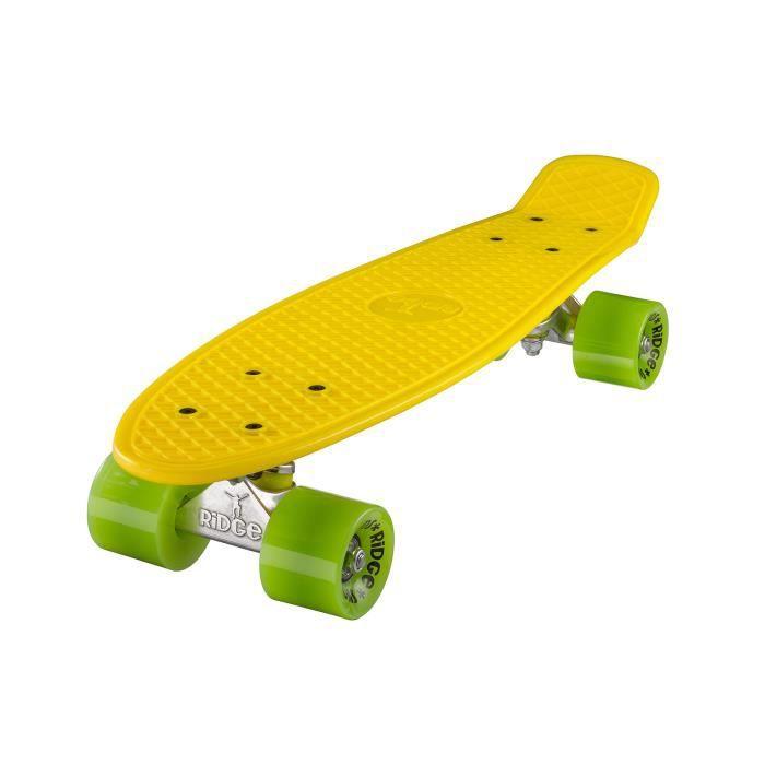 """Planche à Roulettes Mini Cruiser Originale Complète 55cm 22"""" Ridge Skateboards JAUNE- VERT"""