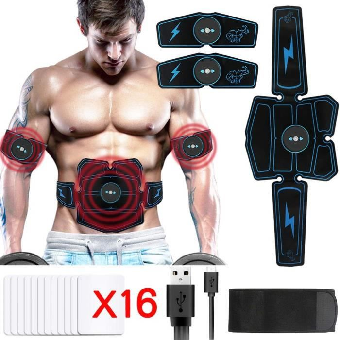 Electrostimulateur Musculaire USB charge,EMS 8 Ceinture Abdominale Electrostimulation/Bras/Cuisse Muscle Forme d'exercice Fitness