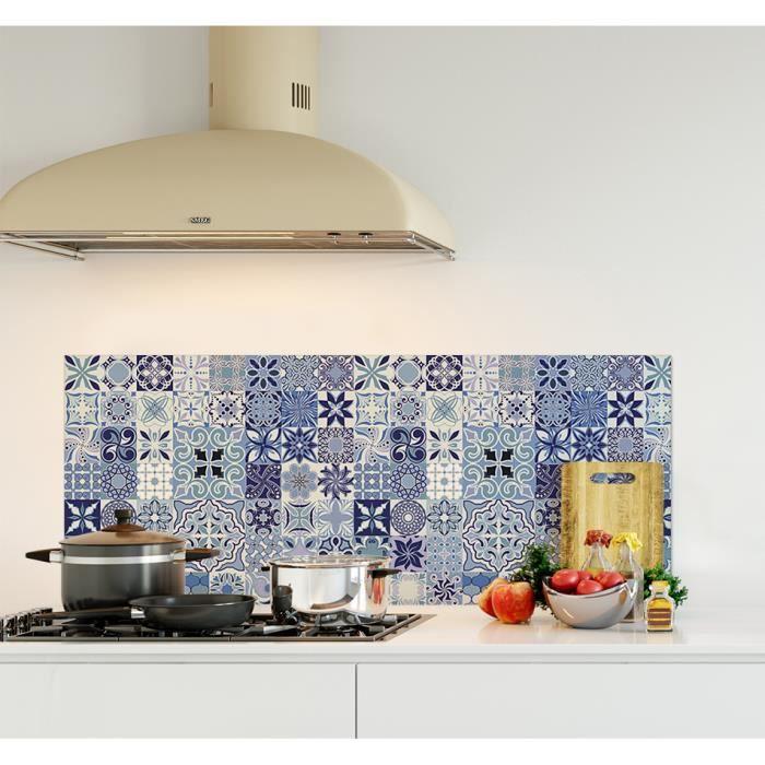 Crédence de cuisine adhésive en Verre de synthèse -Carreaux de ciment bleus- L. 120 x H. 50 cm