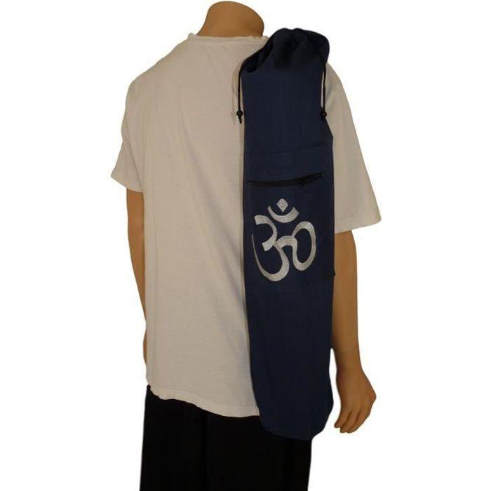 Sac tapis de yoga broderie OM 75x15cm Bleu Marine