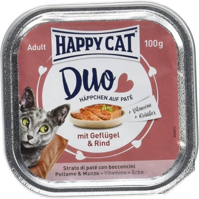 Nourriture pour chats Happy Cat Duo de Gouttes de Poulet et de bœuf sur pâte, 12 x 100 g 38694