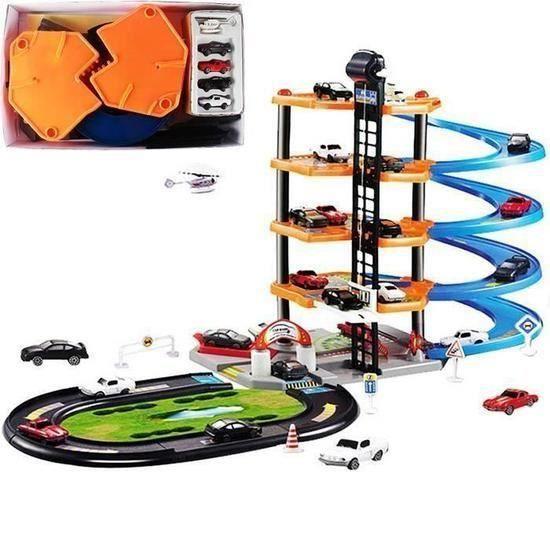 Jeu de Construction Bricolage Assemblage de modèle Garage À Construire coffret de jeux de Voiture Circuit Pistes Enfant Jouet