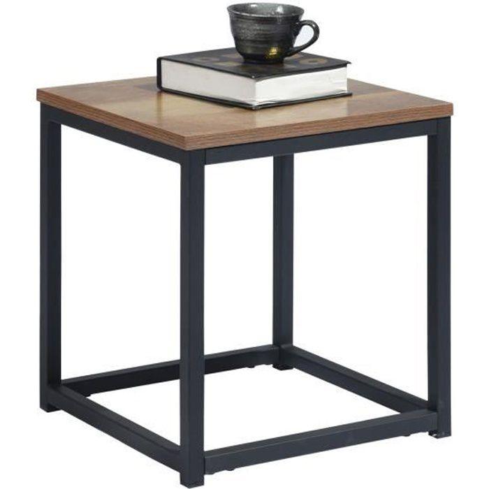 MEUBLES COSY Table d'appoint,Table basse pour Salon,bout de canapé,Structure en métal et d'un dessus en bois,Style Industriel