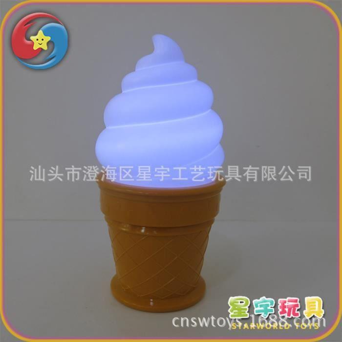 Lampe magique de crème glacée, veilleuse LED attrayante, lampe de table - bureau mignonne, lumières de décoration de chambre blanc