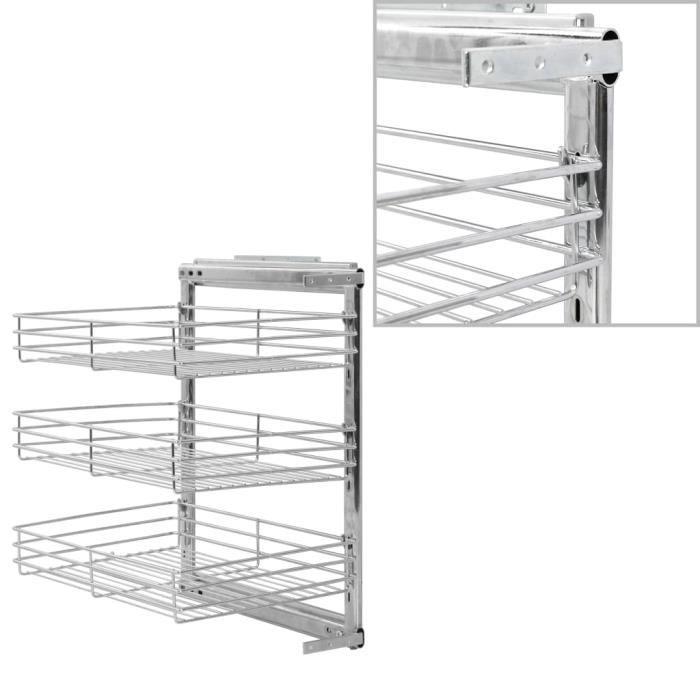 Bonne qualité - Panier à 3 niveaux métallique de cuisine - Panier de cuisine Tiroir de cuisine 47x35x56 cm ®REAEZZ®