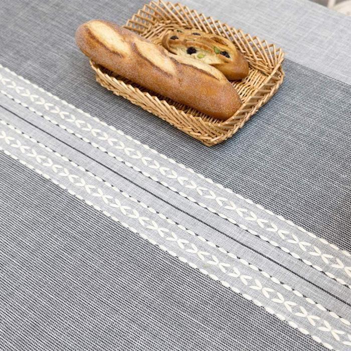 TABLE SUNBEAUTY Nappe Rectangulaire Coton Lin Vintage Grise Decoration Table Cloth Cotton Tablecloth Rectangle 140x220 cm pour T365