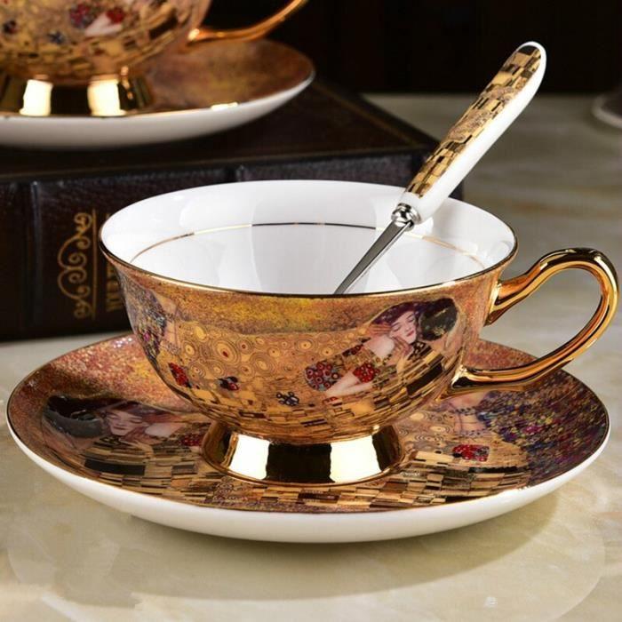 Service à café avec soucoupes,Tasse à café et plat en porcelaine, service à thé européen Royal, ancien et - Type Cup and dish #A1