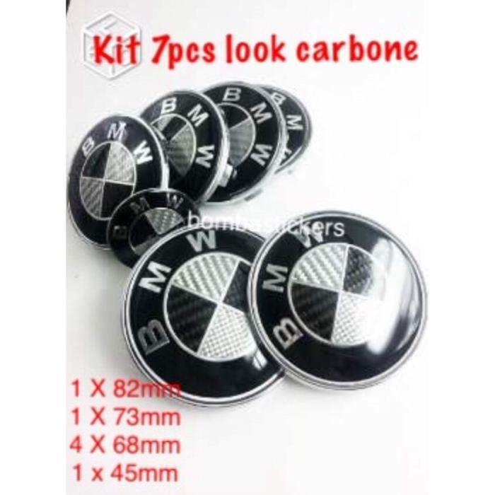 KIT 7 PIECES LOGO/ EMBLEME/ BADGE CARBONE NOIR BMW